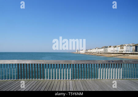 Seafront view of St Leonards On Sea on the East Sussex coast, looking west from Hastings Pier - Stock Photo