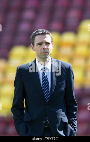 Fir Park, Motherwell, UK. 27th Apr, 2019. Ladbrokes Premiership football, Motherwell versus Dundee; Referee Kevin Clancy inspects the pitch before the match Credit: Action Plus Sports/Alamy Live News - Stock Photo