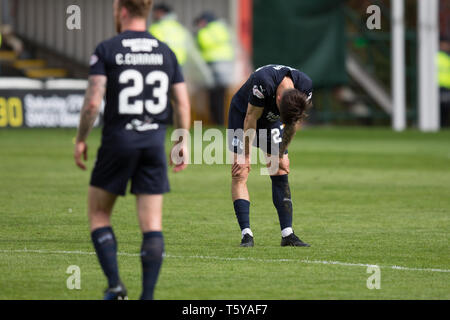 Fir Park, Motherwell, UK. 27th Apr, 2019. Ladbrokes Premiership football, Motherwell versus Dundee; Jesse Curran of Dundee shows dejection at the end of the match Credit: Action Plus Sports/Alamy Live News - Stock Photo
