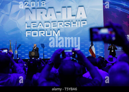May 4, 2018 - Dallas, Texas, U.S. - President Donald J. Trump speaks during the National Rifle Association (NRA) annual meeting leadership forum on Friday, May 4, 2018 in Dallas, Texas.. © 2018 Patrick T. Fallon (Credit Image: © Patrick Fallon/ZUMA Wire) - Stock Photo