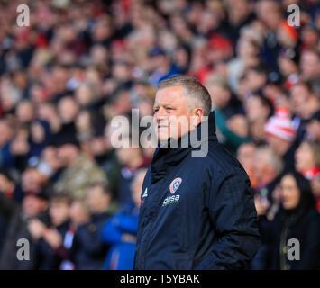 Bramall Lane, Sheffield, UK. 27th Apr, 2019. EFL Championship football, Sheffield United versus Ipswich Town; Sheffield United Manager Chris Wilder arrives in the dug-out Credit: Action Plus Sports/Alamy Live News - Stock Photo