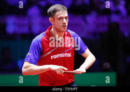 Ovidiu Ionescu (ROU)  APRIL 27, 2019 - Table Tennis : 2019 World Table Tennis Championships  Men's doubles Final match  at HUNGEXPO Budapest Fair Center, Budapest, Hungary. (Photo by Sho Tamura/AFLO SPORT) - Stock Photo