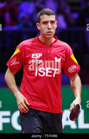 Alvaro Robles (ESP),  APRIL 27, 2019 - Table Tennis : 2019 World Table Tennis Championships  Men's doubles Final match  at HUNGEXPO Budapest Fair Center, Budapest, Hungary. (Photo by Sho Tamura/AFLO SPORT) - Stock Photo