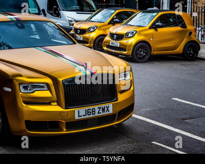 miwhip a London based ride hailing app with the twist of offering occasional gold painted supercars in place of normal hire cars - Stock Photo