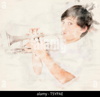 portrait of a boy playing the trumpet in watercolors - Stock Photo