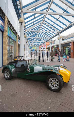 Sports car on display in the town centre during the Farnborough Classic Car Show, April 2019, Hampshire, UK - Stock Photo