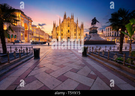 Milan, Italy. Cityscape image of Milan, Italy with Milan Cathedral during sunrise. - Stock Photo