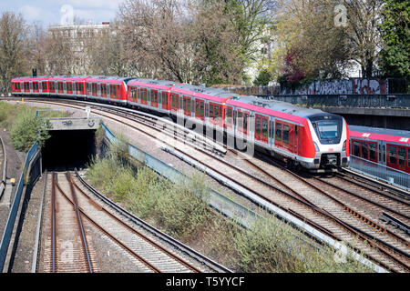 Class 490 train of the Hamburg S-Bahn, rapid mass transit railway network in the Hamburg Metropolitan Region. - Stock Photo