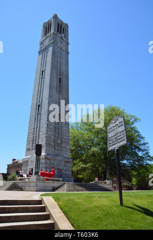 Started in 1921 and dedicated in 1949, the Memorial Belltower at NC State University is both a landmark and symbol for the school. - Stock Photo