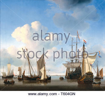 Willem van de Velde the Younger-Ships in the Roads - Stock Photo