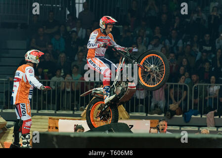 ANDORRA LA VELLA, ANDORRA : 2019 27 APRIL :  TONI BOU (SPAIN) takes part in the  FIM X-TRIAL WORLD CHAMPIONSHIP ANDORRA LA VELLA. - Stock Photo