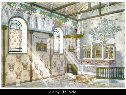 Chapel, overview in perspective. Vintage Art Nouveau illustration by Modern Interiors 1900 - Stock Photo