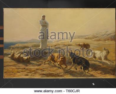 Briton Riviere-Pallas Athena and the Herdsman's Dogs - Stock Photo