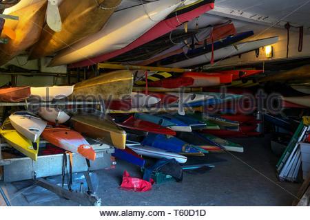 Rowing club canoes, Melksham, Wiltshire, England, UK - Stock Photo