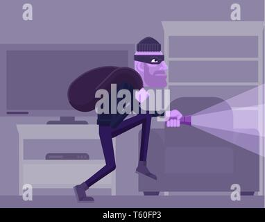 Thief Burglar Robber Criminal Cartoon Scene - Stock Photo