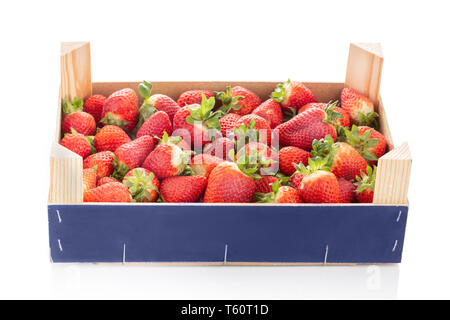 Fresh strawberries in wooden crate isolated on white background.Mock up - Stock Photo