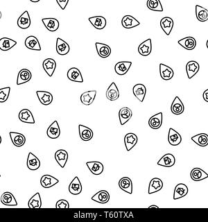 Location Gps Marker Set Seamless Pattern Vector - Stock Photo