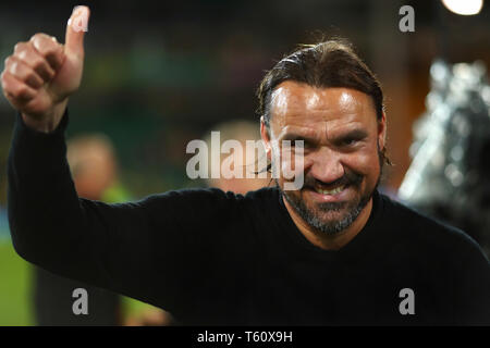 Manager of Norwich City, Daniel Farke celebrates after being promoted to the Premier League - Norwich City v Blackburn Rovers, Sky Bet Championship, C - Stock Photo