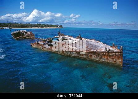 Australia. Great Barrier Reef. Heron Island. Coast view with rusty ship wreck. - Stock Photo