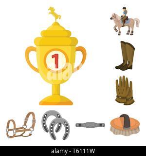 Vector illustration of horseback and equestrian logo. Set of horseback and horse  stock symbol for web. - Stock Photo