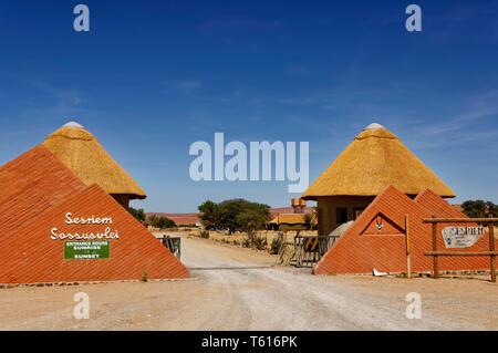 Entrance to the Namib-Naukluft-Park (Sossusvlei and Sesriem-Canyon) in Sesriem, Maltahöhe District, Hardap Region, Namibia