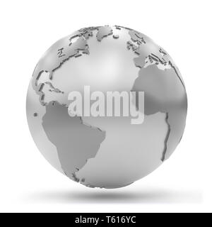 stylized silvery Earth showing Africa, Europe, North America and South America (3d illustration isolated on white background) - Stock Photo