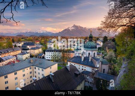 Salzburg, Austria.Cityscape image of the Salzburg, Austria during spring sunset.