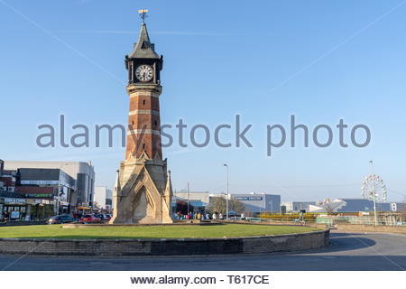 The clock tower in Skegness, located on a roundabout in the main part of town, UK - Stock Photo