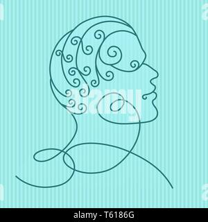 Human head profile, isolated on blue striped background. Line art. Vector illustration for your design. - Stock Photo