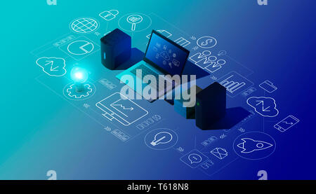 Cloud computing, data transmission, storage and backup concept: isometric computer, servers, hard disks and network of icons - Stock Photo