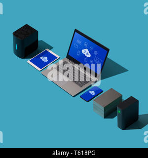 Cloud computing, data transmission, storage and backup concept: isometric computer, servers and hard disks - Stock Photo