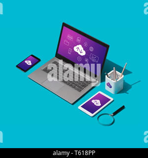 Cloud computing, data transmission, storage and backup concept: isometric computer, servers and hard disks on a desktop - Stock Photo