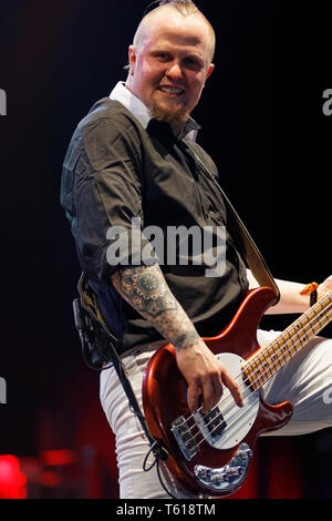 Madrid, Spain. 27 April, 2019. MULAFEST - Festival of Urban Trends  Concert of  Aaron Buchanan and The Cult Classics - , Madrid, Spain - Stock Photo