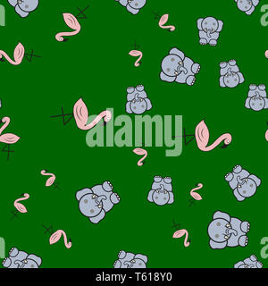 Seamless pattern from flamingos and elephants in in cartoon style. On color background,  illustration. - Stock Photo