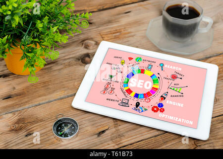 SEO, Search Engine Optimization ranking concept, Tablets placed on the table with text content, compass. The idea of promote traffic to website. - Stock Photo