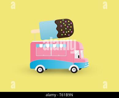 Ice cream truck isolated on yellow background. Creative vector illustration. - Stock Photo