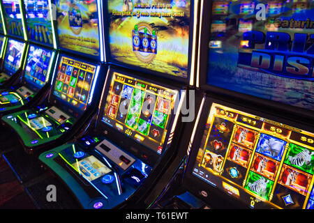 Las Vegas, Nevada, USA-March 10, 2018: Casino machines in the entertainment area at night - Stock Photo