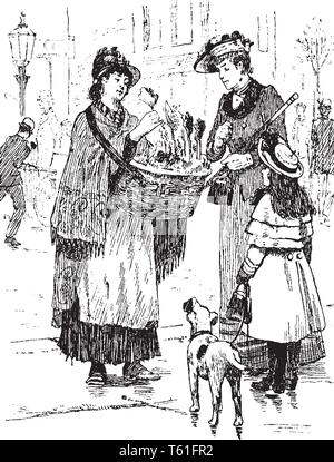 A woman and little girl buying flower from another woman who holding basket of flowers, vintage line drawing or engraving illustration - Stock Photo