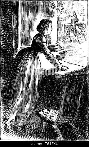 A woman looking out of window, vintage line drawing or engraving illustration - Stock Photo