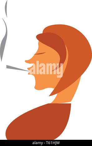 A woman is smoking cigarette vector or color illustration - Stock Photo