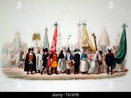 Ancient paint from VOYAGE EN SARDAIGNE, 1826 Bertrand, Paris, Bocca Turin  by Alberto La Marmora (1789-1863) - Stock Photo