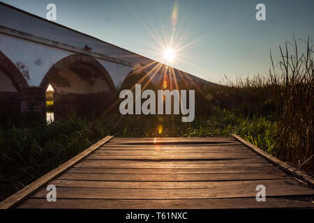 Boating on the Hortobágy River at the Great Hungarian Plain - Stock Photo