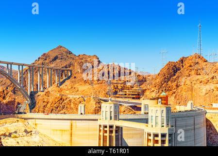 Famous and amazing Hoover Dam at Lake Mead, Nevada and Arizona Border, USA. - Stock Photo