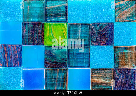 Colorful glass mosaic tiles background - Stock Photo