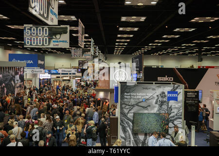 Indianapolis, Indiana, UK. 27th Apr, 2019. An overall of the NRA convention during the third day of the National Rifle Association convention. Credit: Jeremy Hogan/SOPA Images/ZUMA Wire/Alamy Live News - Stock Photo