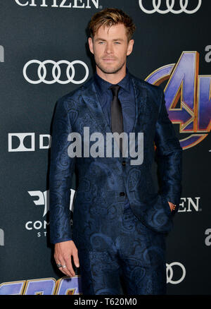 Chris Hemsworth 307 attends the World Premiere Of Walt Disney Studios Motion Pictures Avengers Endgame at Los Angeles Convention Center on April 22, 2019 in Los Angeles, California. - Stock Photo