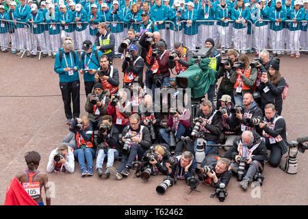 London, UK. 28th April 2019. Virgin Money London Marathon 2019 Brigid Kosgei womens elite winner meets the press Credit Ian Davidson/Alamy Live News - Stock Photo