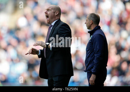 Burnley, UK. 28th Apr, 2019. Burnley Manager Sean Dyche during the Premier League match between Burnley and Manchester City at Turf Moor on April 28th 2019. Credit: PHC Images/Alamy Live News - Stock Photo