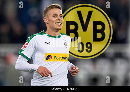 Borussia Monchengladbach, Deutschland. 28th Apr, 2019. PHOTO MOUNTING: Top-Transfer almost fix Hazard confirmed agreement with BVB. Stock Credit: jubilation Thorgan HAZARD (MG) after his goal to 3: 0, football 1.Bundesliga, 8.matchday, Borussia Monchengladbach (FS) FSV FSV Mainz 05 (MZ) 4: 0, on 21.10.2018 in Borussia Monchengladbach/Germany. DFL regulations prohibit any use of photographs as image sequences and/or quasi-video ### usage worldwide/dpa/Alamy Live News - Stock Photo