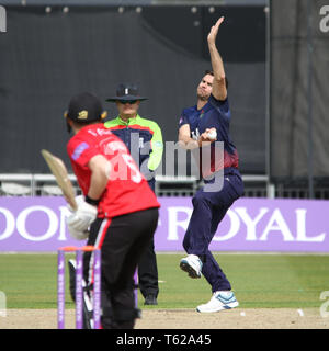 Lancashire, UK. 28th Apr, 2019. Jimmy Anderson bowls to Harry Dearden during the Royal London One-Day Cup match between Lancashire v Leicestershire Foxes at the Emirates Old Trafford Cricket Ground, Manchester, England on 28 April 2019. Photo by John Mallett.  Editorial use only, license required for commercial use. No use in betting, games or a single club/league/player publications. Credit: UK Sports Pics Ltd/Alamy Live News - Stock Photo